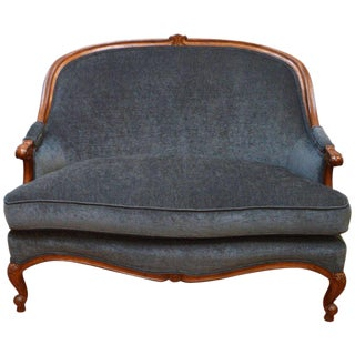 Louis XV Style Walnut Settee, Canape, Newly Upholstered in a Blue/Grey Chenille