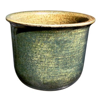 1960's Vintage Gainey Ceramics Model U 12 Matte Avocado Green Architectural Planter For Sale
