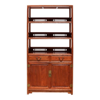 Chinese Huali Rosewood Brown 3 Shelves Bookcase Display Cabine For Sale