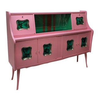 An Italian Mid-Century Bar Cabinet in Pink Lacquer For Sale
