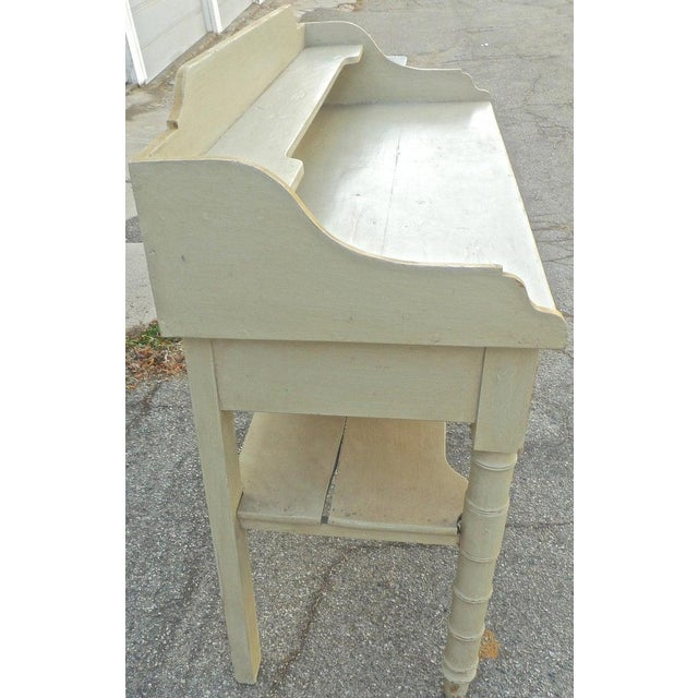 19th Century French Painted Server or Vanity With Two Drawers and Two Shelves For Sale - Image 11 of 12