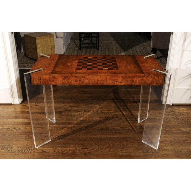Superb Bookmatch Olivewood Console, Game Table and Writing Desk, Circa 1975 For Sale - Image 12 of 13