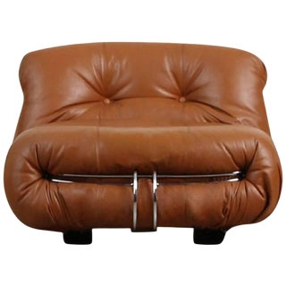 Soriana Lounge Chair in Cognac Leather by Afra & Tobia Scarpa for Cassina For Sale