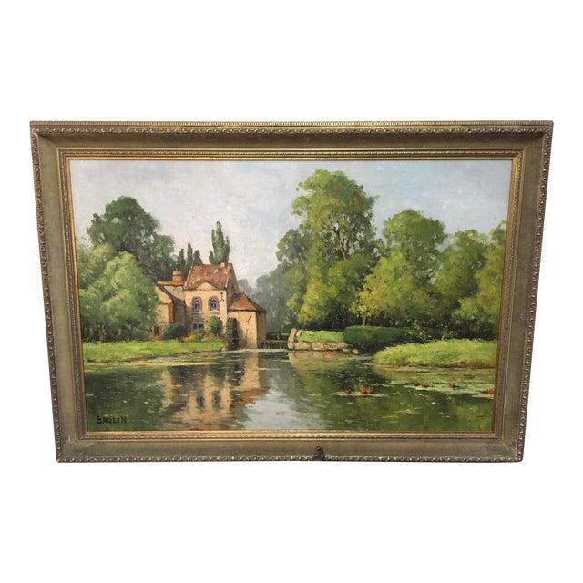 Saulin Oil Painting French Landscape Moulin Des Beechet a Olivet For Sale
