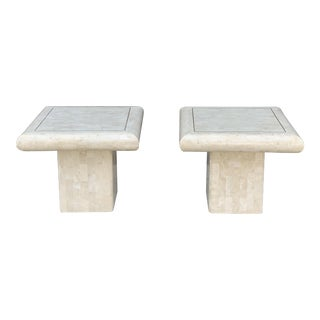 Pair of Tessellated Stone Tile Side Tables For Sale