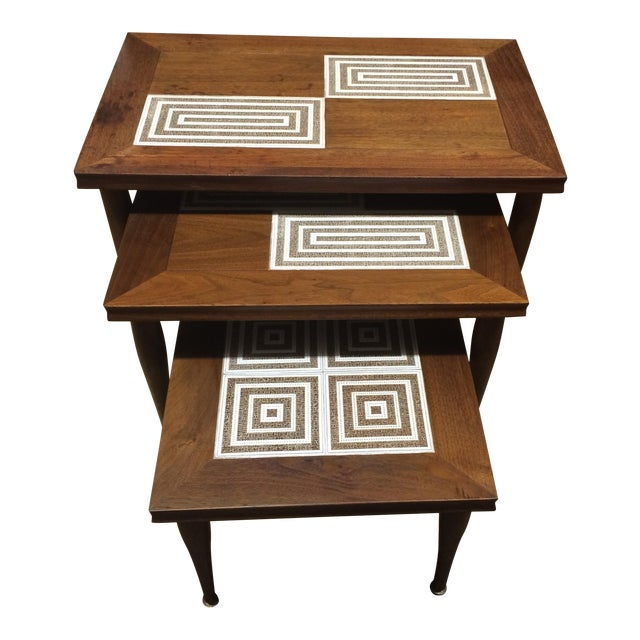 MCM Tile & Walnut Stacking Tables - Image 1 of 9
