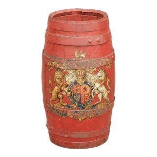 English Red Painted Wooden Barrel with Iron Straps and Royal Coat of Arms