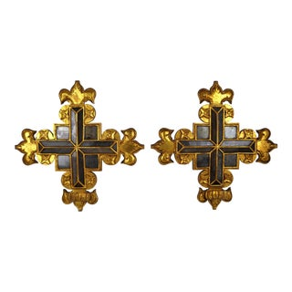 Spanish Mirrored Gilt Plaques, S/2 For Sale