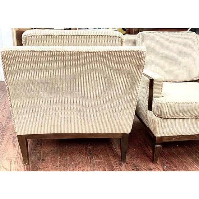Pair, Mid Century Club Chairs on Beige For Sale - Image 4 of 7