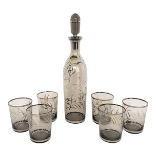Mid-Century Modern Coyne's Smoky Brown & Floral Design Glass Decanter Set - 8 Pieces For Sale