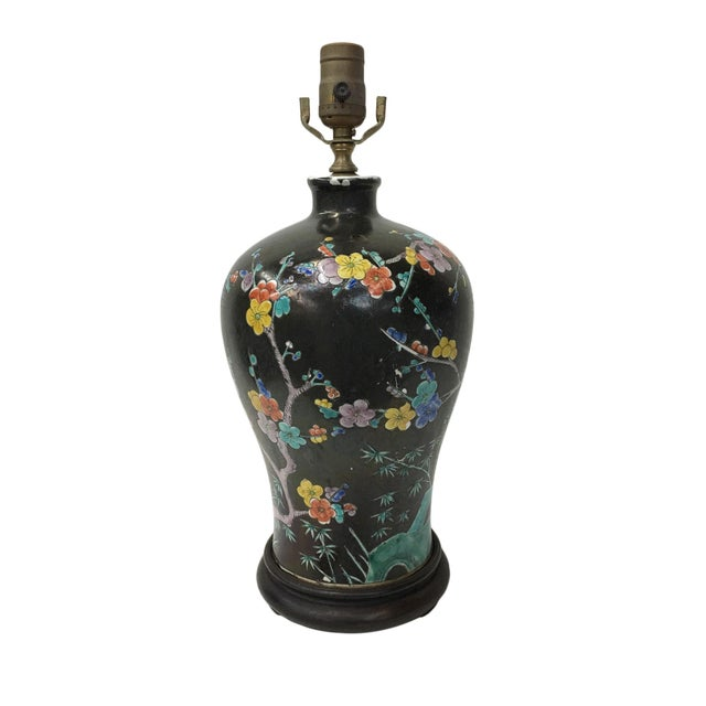 1970s Multicolor Cherry Blossom Table Lamp For Sale - Image 5 of 5
