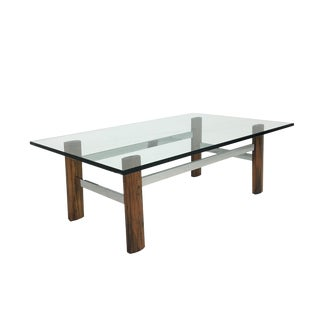 Mid-Century Rosewood & Chrome Base Coffee Table For Sale