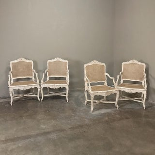 19th Century Country French Caned Painted Armchairs- A Pair Preview