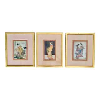 1960s Geisha Watercolor and Ink Paintings - Set of 3 For Sale