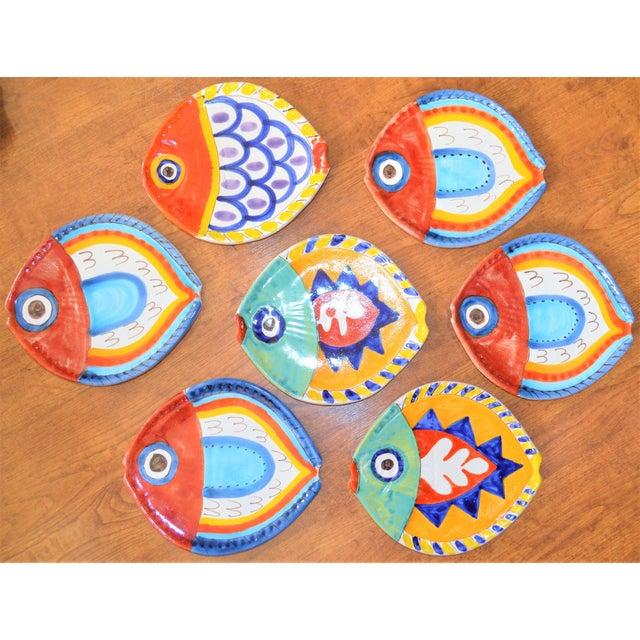 1980s Boho Chic DeSimone Terra Cotta Fish Plate For Sale - Image 10 of 13