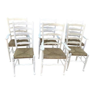 Late 20th Century Country French Style Ladderback Chairs- Set of 6 For Sale