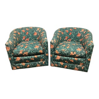 Custom Barrel Swivel Chairs, a Pair For Sale