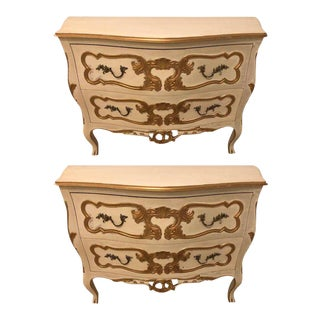 Pair of Italian Bombe Commodes or Nightstands Parcel Paint and Gilt Decorated