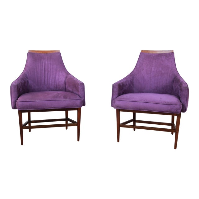 Kipp Stewart for Directional Mid-Century Modern Lounge Chairs, Pair For Sale