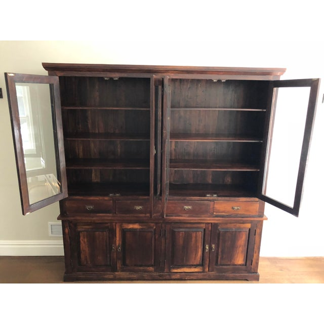 Glass Indonesian Glass & Wood Breakfront Bookcase For Sale - Image 7 of 9