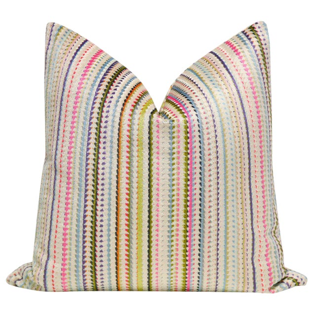 "22"" Multicolor Cut Velvet Pillow Cover - Image 1 of 5"