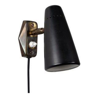 1950s Stilnovo Wall Light in Black and Brass For Sale