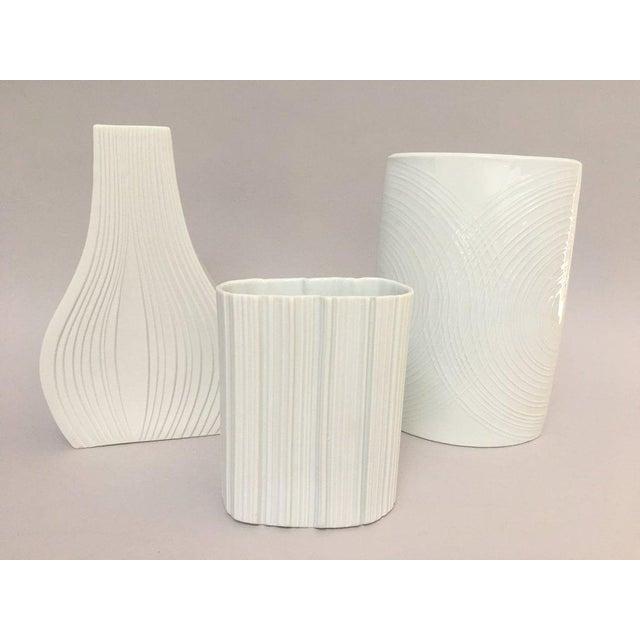 White Porcelain Naaman Op Art Pillow Vase For Sale - Image 9 of 10