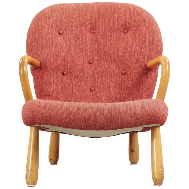 """1940s """"Clam"""" Easy Chair Designed by Philip Arctander, Denmark For Sale"""