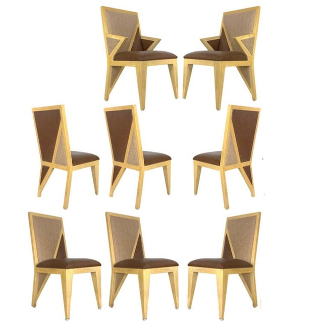 Custom Postmodern Memphis Style Blonde Wood Dining or Occasional Chairs - Set of 10 For Sale - Image 11 of 12