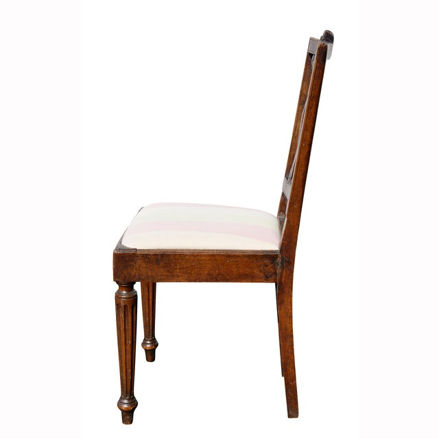 Fabric Set of Four Italian Neoclassic Walnut Side Chairs For Sale - Image 7 of 9