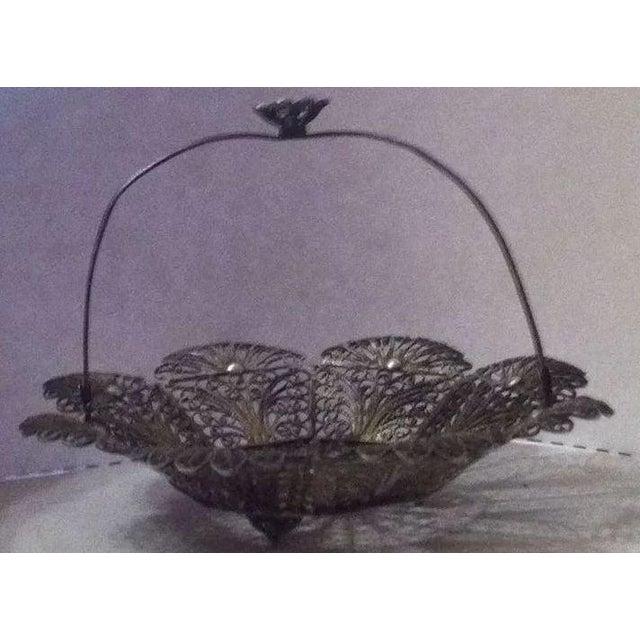 Lovely Doll's Silver Filigree Handled Basket For Sale - Image 4 of 9