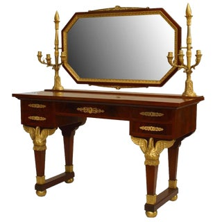 French Second Empire Mahogany Dressing Table With Candelabra For Sale
