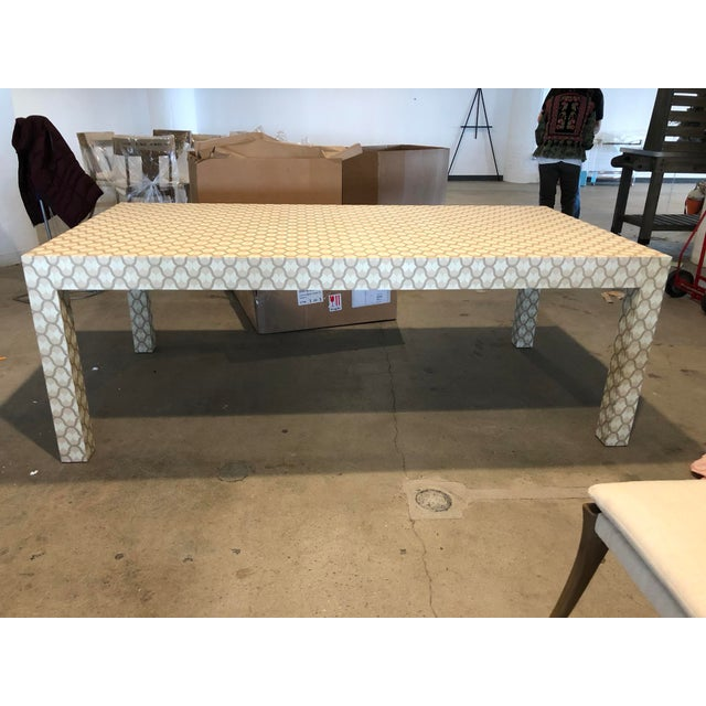Custom Designed Holland & Sherry Grasscloth Wrapped Parsons Style Dining Table - Image 2 of 5