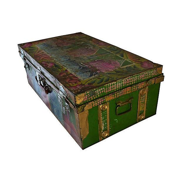 Hollywood Regency 1950s Regency Indian Hand-Painted Steel Trunk For Sale - Image 3 of 10