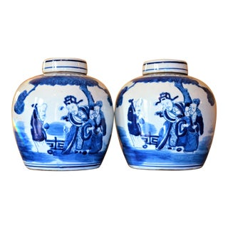 Chinoiserie Ginger Jars With Deities - a Pair For Sale