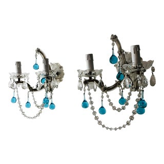French Murano Glass Aqua Drops Crystal Swags Sconces, circa 1920 For Sale