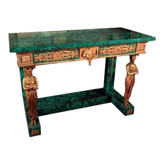 French Empire Style Gilt Bronze and Malachite Console For Sale