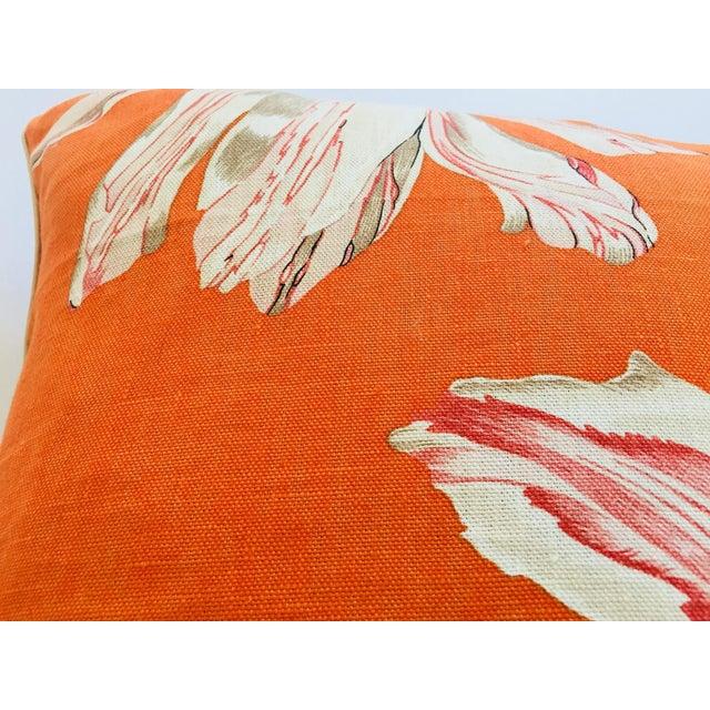 Mid Century Jim Thompson Orange Designer Decorative Pillow With Lotus Flower Print For Sale In Los Angeles - Image 6 of 10