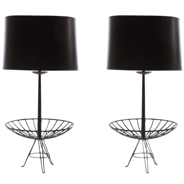 Pair of Stunning Lacquered Copper Lamps After Ferris & Shacknove For Sale