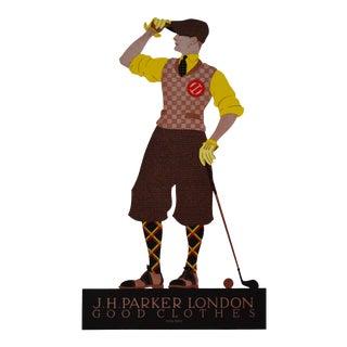 1923 Vintage German Golfing Print, Jh Parker For Sale