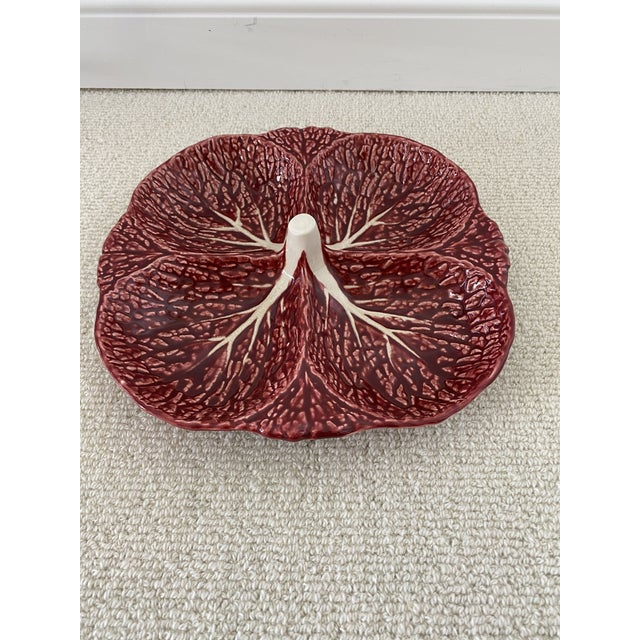 Rare Colored Purple Cabbage Platter From Portugal For Sale - Image 4 of 8