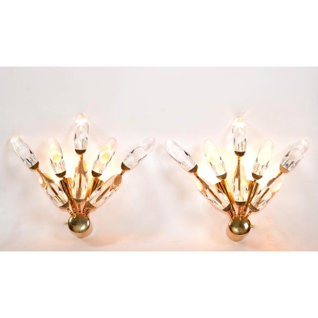 Mid-Century Modern Stilkronen Italy Brass & Crystal Sconces Mid-Century Modern, For Sale - Image 3 of 9
