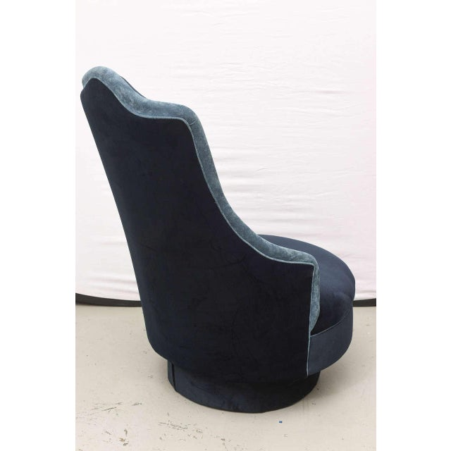 Adrian Pearsall Two-Toned High-Back Adrian Pearsall Swivel Chair in Velvet, 1960s, Usa For Sale - Image 4 of 8