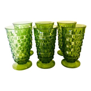 1960s Vintage Boho Chic Optic Textured Green Water Goblets- Set of 6 For Sale