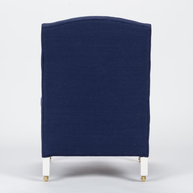 Casa Cosima Casa Cosima Sintra Chair in Cadet Blue Linen, a Pair For Sale - Image 4 of 10