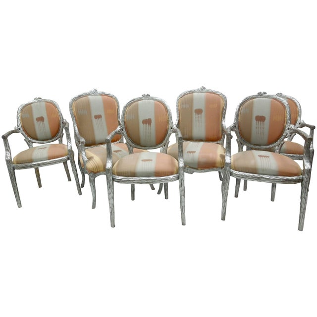 Orange Silver Leaf 1980s Vintage Faux Bois Twig Dining Chairs - Set of 6 For Sale - Image 8 of 8