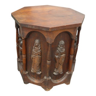Vintage Spanish Revival Renaissance Carved Soldier Drum Side Table