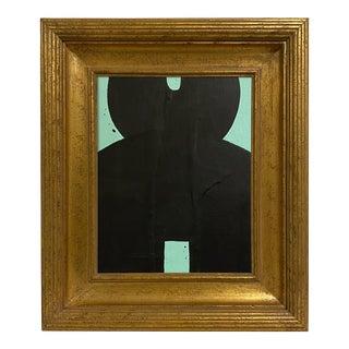 Ron Giusti Mini Kokeshi Doll Head Aqua and Black Acrylic Painting, Framed For Sale