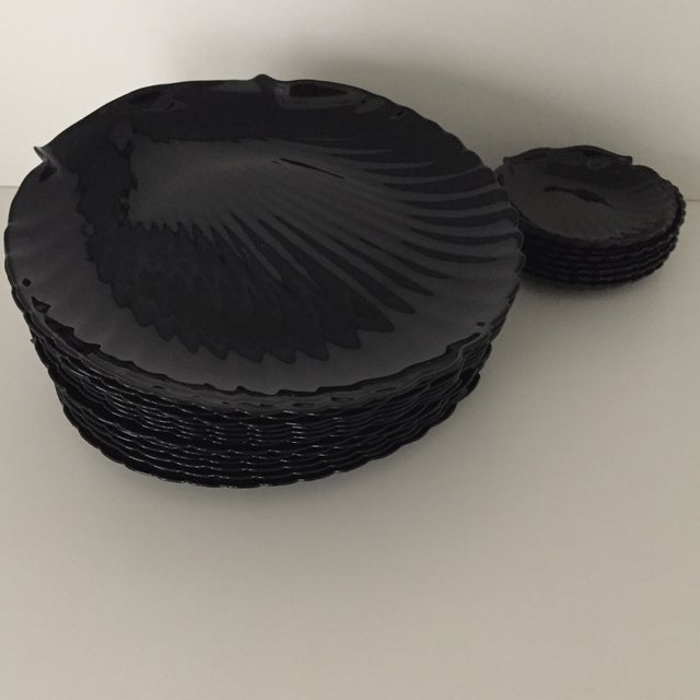"""Striking jet black glossy large 13"""" plates (larger than normal plates) and smaller 5.5"""" bread or dessert plates- 16 large..."""