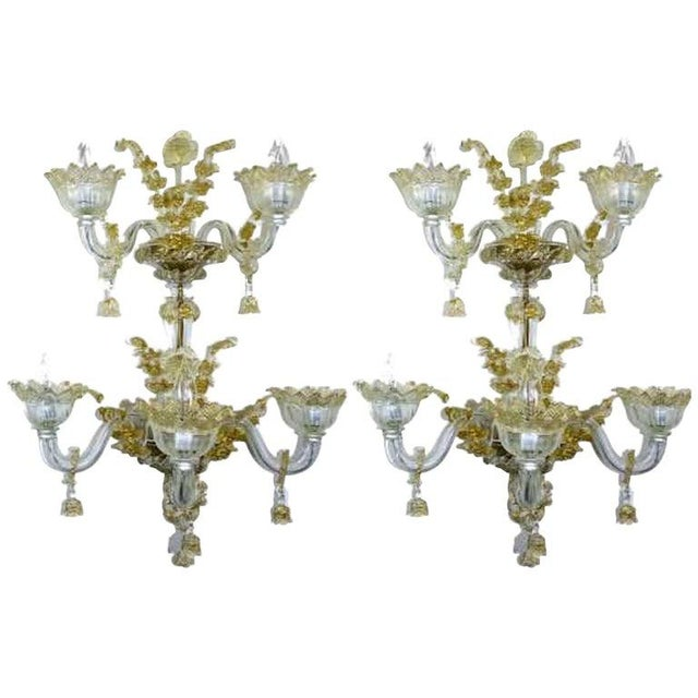 Spectacular Venetian Italian Gold Infused Murano Glass Sconces For Sale In West Palm - Image 6 of 6